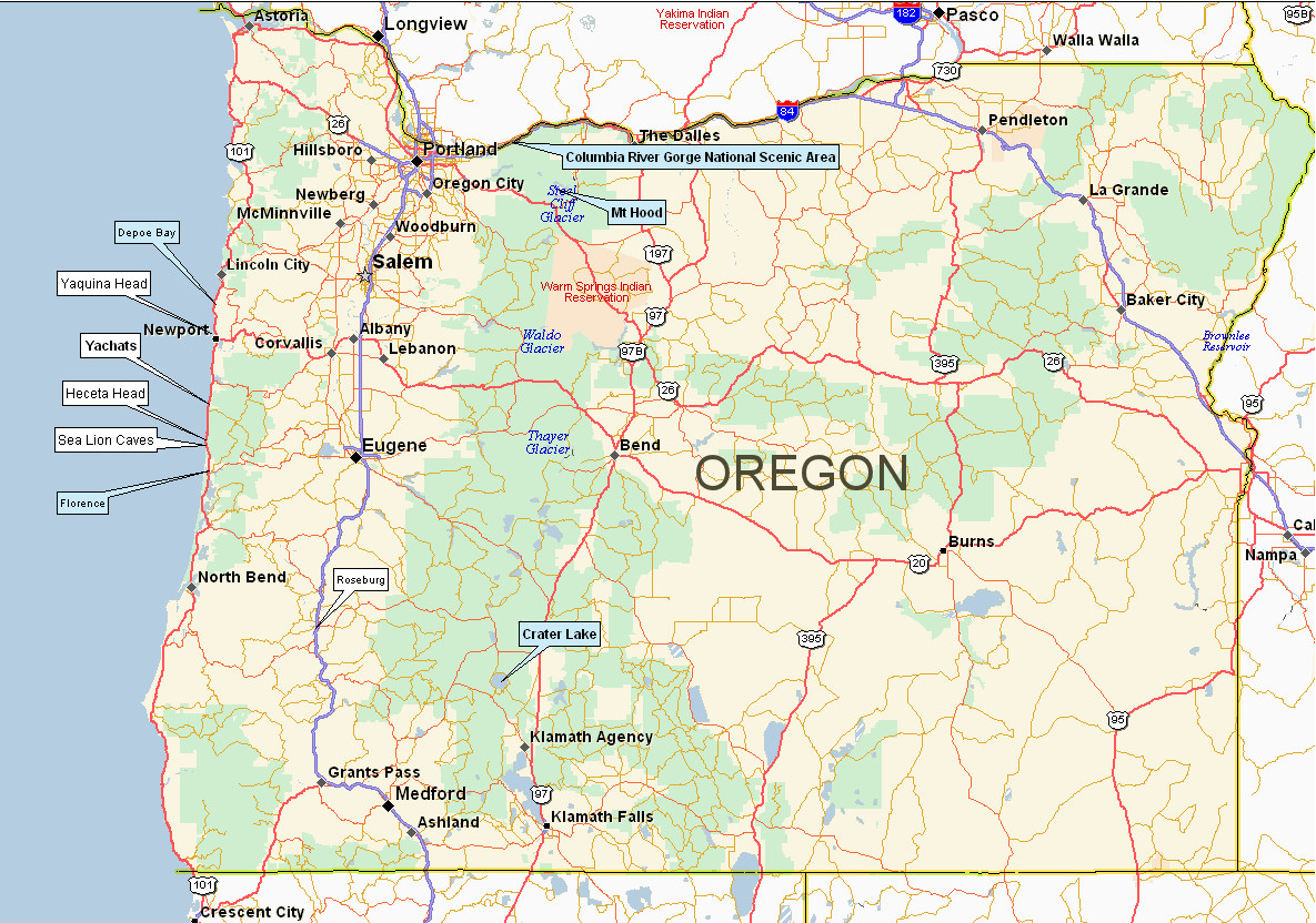 Photos Of The Portland Area - Oregon waterfalls map